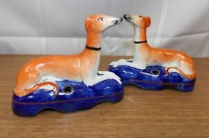 Vintage Staffordshire Styled Greyhound Whippet Dog Quill Holders (Pair)