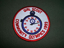 """1993 GIRL SCOUT COMMUNITY OLYMPICS NOS Patch, 3"""""""