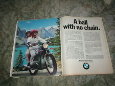 """1973 BMW  Cycle ad """" A Ball with No Chain"""" R50  R60  R75  2 page original"""