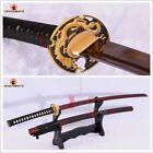 HANDMADE JAPANESE SAMURAI KATANA SWORD DAMASCUS RED FOLDED STEEL SHARP BLADE