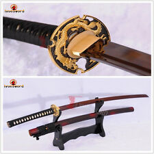 HANDMADE JAPANESE SAMURAI KATANA SWORD DAMASCUS RED FOLDED STEEL SHARP BLADE