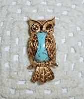 Vintage BEAU Sterling Silver Vermeil OWL Brooch Pin Faux Turquoise Jelly Belly