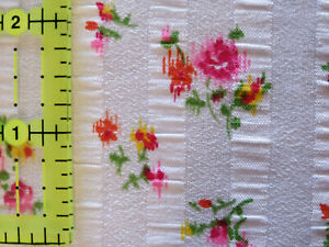 Lot 1341 Fabric, 3 Yards, Flowers & Woven Stripes, Looks Like Apparel Cotton