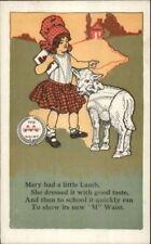 Mary Had a Little Lamb Nursery Rhyme Minneapolis Knitting Works Postcard