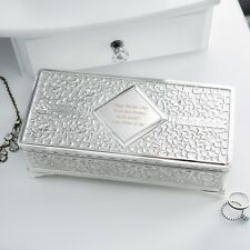 Personalised Luxury Antique Silver Plated Jewellery Box Trinket Box Mother's Day
