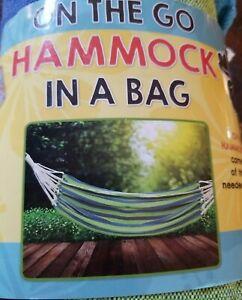 "NEW! ON THE GO HAMMOCK IN A BAG Cotton Fabric Heavy Duty 80"" X 40"" Portable Blue"