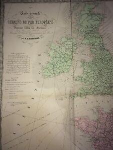CARTE GÉNÉRALE DES CHEMINS DE FER EUROPÉENS DONNANT TOUTES LES STATIONS .XIXe.