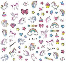 Nail Art Stickers Water Decals Transfers Unicorns Rainbows Bows (M+582)