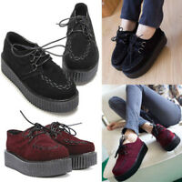 Women Lace Up High Platform Creepers Punk Ankle Shoes Boots Checker Flats