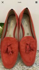 Boden Size 40 UK 6.5 orange suede slip on loafers smart work career leather GC