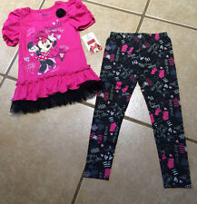 NWT Girls Disney Minnie Mouse Fashion Diva Glitter BowsTunic & Leggings SZ 6X