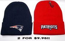 READ LISTING! New England Patriots HEAT Set Flat Logos on 2 Beanie Knit Cap hat