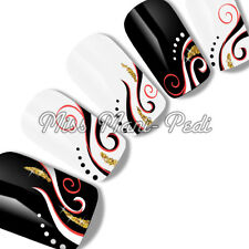 NAIL ART ACQUA trasferimento Decalcomanie Oro brillantinato nero bianco rosso SWIRLS transizioni F043