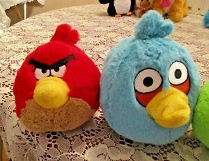 "ANGRY BIRDS Blue Bird Plush 8"" & Red Bird Plush 5"" Stuffed animals No sound"