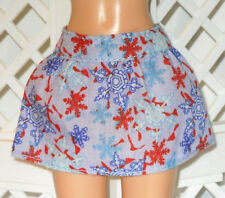 SKIRT Barbie Christmas Snow Flakes Red White Blue Mini Holiday Winter Style Diva
