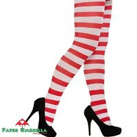Ladies Red & White Candy Striped Tights Fancy Dress Wally Costume Accessory