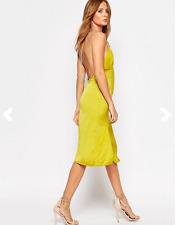 Millie Mackintosh Yellow Bead Strap Slip V Neck Low Back Blogg Dress UK 16 BNWT