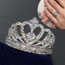 Fashion Crown White Sapphire Birthstone 925 Silver Wedding Bridal Ring Sz 6-10