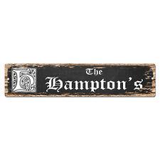 SPFN0451 The HAMPTON'S Family Name Street Chic Sign Home Decor Gift Ideas