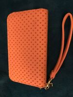 Ladies Peach Colored Wallet, Zip Top With Wrist Strap