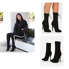 Womens Ladies High Stiletto Heel Lycra Stretch Pointed Toe Lace Up Ankle Boots