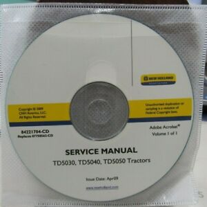 NEW HOLLAND TD5030, TD5040, TD5050 TRACTORS SERVICE MANUAL ON CD     84221704-CD