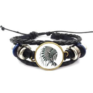 Skull Indian Headdress Glass Cabochon Bracelet Braided Leather Strap Bracelets