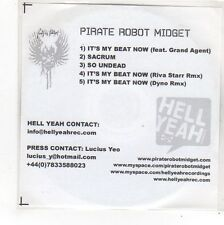 (FN967) Pirate Robot Midget, It's My Beat Now - DJ CD