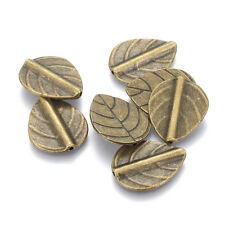 20pcs Tibetan Alloy Leaf Metal Beads Carved Loose Spacer Antique Bronze 21x17mm