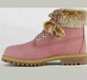 "Timberland Premium 6"" Waterproof  Boot  Pink  A1TU6K28 Sz 7 youth= 8.5 women"