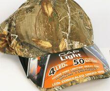 REALTREE CAMO HAT CAP LIGHT ULTRA BRIGHT 4 LEDS HANDS FREE FLASHLIGHT 50 HR LIFE
