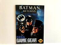 Batman Returns Sega Game Gear MANUAL ONLY Original