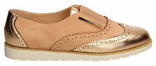 Womens Suede Metallic Ladies Rose Gold Pink Loafer Brogues Slip on Shoes Size