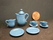 DOLLHOUSE OLD FASHION TEA POT WITH CUPS/ 9PC. BLUE METAL