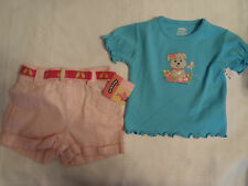 OKIE DOKIE Blue Puppy Shirt LEE RIDERS Pink Belted Shorts 12 Month Outfit NWT