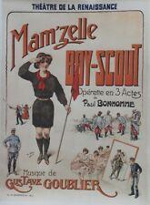 """""""MAM'ZELLE BOY-SCOUT"""" Affiche originale entoilée Litho H. GRAY 1915  68x92cm"""