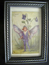 "art deco minature framed print""The Dog-Violet Fairy""Purple colored litho signed"