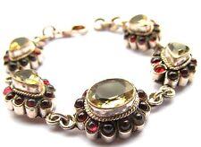 sterling silver Victorian era bracelet, faceted citrines, garnet cabs, 22 grams