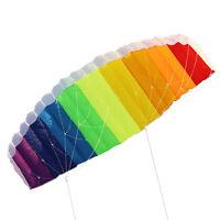 Rainbow Sports Beach Kite Power Dual  Stunt Parafoil Parachute For Beginner JO