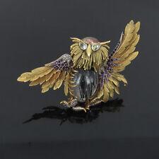 Vintage French Diamond & Gemstone Hand Carved 18K Gold Large Horned Owl Brooch