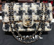 CHANEL CLASSIC BLACK-BEIGE TWEED FLAP GOLD CHAIN SHOULDER BAG
