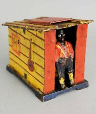19thC J E Stevens Americana Painted Cast Iron Mechanical Cabin Bank, NR