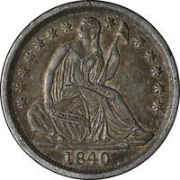 1840-P Seated Liberty Half Dime Choice AU  Superb Eye Appeal  Nice Luster