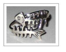 Scuba Jewelry,Sterling Silver Fish Skeleton Ring SZ 8, 9, 10