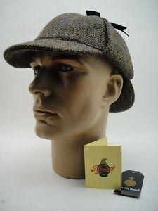 NEW TOP HARRIS TWEED Classic Deerstalker CAP HAT London Brighton Sherlock Holmes