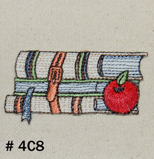 1PC~BOOKS AND APPLE~IRON ON EMBROIDERED APPLIQUE