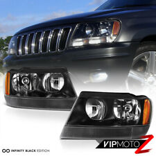 For 99-04 Jeep Grand Cherokee WJ [CLEAR SIGNAL BAR] Black Headlights Assembly