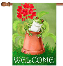 Toland Potted Frog 28 x 40 Cute Spring Flower Welcome House Flag
