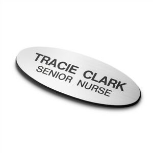 75mm x 30mm Oval Personalised Engraved Staff Name Badge Magnetic (Silver/Black)