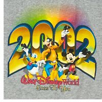 Vintage Walt Disney World Tank Top Mickey Graphic Gray S New Years 2002 Small